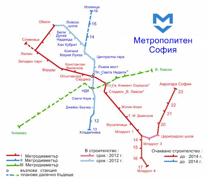 Карта на метрото в София